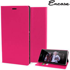 Protect your Sony Xperia Z3 with this durable and stylish pink leather-style wallet case. What's more, this case transforms into a handy stand to view media.