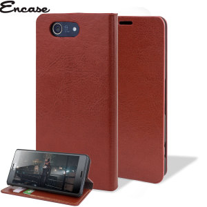 Protect your Sony Xperia Z3 Compact with this durable and stylish brown leather-style wallet case. What's more, this case transforms into a handy stand to view media.