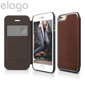 An elegant, slimline Leather flip case. The elago leather flip case offers great protection for your iPhone 6, as well as a card slot and anti-ghost camera cut-out.