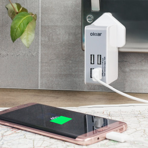 Ideal for use at home or worldwide, this Olixar Travel Adapter includes 4 interchangeable mains adapters and features 4 USB ports totalling 4.8 Amps output for recharging your mobile or even power hungry tablet devices.