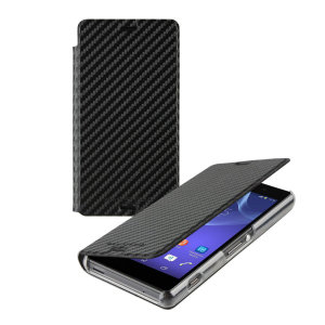 This officially licensed book flip case by Roxfit houses the Sony Xperia Z3 within a form fitting hard case and encloses it in a soft rubber inner lining and a black carbon fibre style cover.
