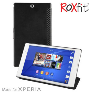 This officially licensed book flip case by Roxfit houses the Sony Xperia Z3 Tablet Compact within a form fitting hard case and encloses it in a soft rubber inner lining and a black carbon fibre style cover.