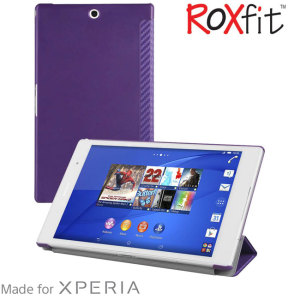 This officially licensed book flip case by Roxfit houses the Sony Xperia Z3 Tablet Compact within a form fitting hard case and encloses it in a soft rubber inner lining and a purple carbon fibre style cover.