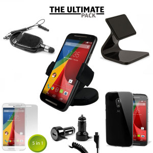 The Ultimate Moto G 2nd Gen Accessory Pack protects, charges and holds your Moto G 2nd Gen with six super useful accessories.