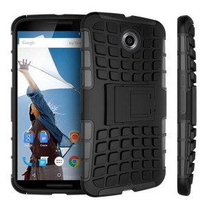 Protect your Google Nexus 6 from bumps and scrapes with this black Encase ArmourDillo case. Comprised of an inner TPU case and an outer impact-resistant exoskeleton, the ArmourDillo provides robust protection and supreme styling.