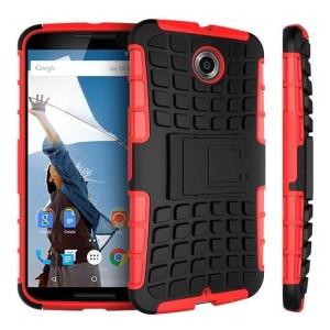 Bescherm je Google Nexus 6 met deze rode Encase ArmourDillo Case, die bestaat uit een binnenste TPU case en een impact resistent exoskelet aan de buitenkant.
