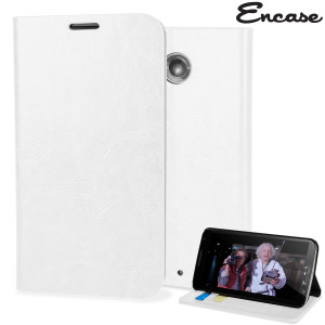 Protect your Nexus 6 with this durable and stylish white leather-style wallet case. What's more, this case transforms into a handy stand to view media.