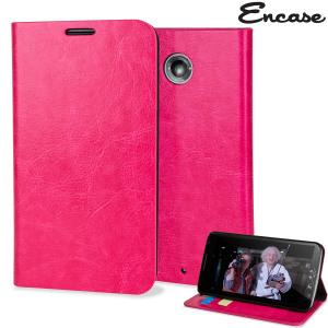 Proteggi il tuo Nexus 6 con questa elegante e resistente custodia a portafogli Encase, realizzata in ecopelle e con un supporto integrato. Colore rosa.