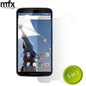Keep your Google Nexus 6's screen in pristine condition with this 5 pack of MFX scratch-resistant screen protectors.