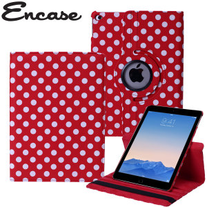 Protect your iPad Air 2 with this fantastic red with white polka dots leather-style case with 360 degree rotating viewing stand for portrait and landscape positions.