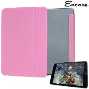 The Folding Stand Case from Encase in pink for the iPad Mini 3 / 2 / 1 combines a clear polycarbonate shell with a built-in folding front flip cover. The flip cover doubles as a dual-position stand, ideal for typing and watching media.