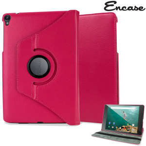 Protect your Google Nexus 9 with this fantastic pink leather-style case with 360 degree rotating viewing stand for portrait and landscape positions.