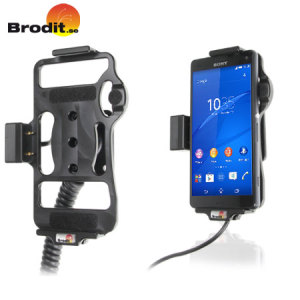 Charge via the magnetic ports and use your Sony Xperia Z3 Compact in your vehicle with this Brodit active holder with tilt swivel and cig-plug.