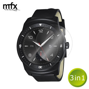 Keep your LG G Watch R's screen in pristine condition with this three pack of MFX scratch-resistant screen protectors.