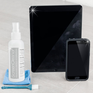 The 100ml Advanced Screen Cleaning Kit from Olixar helps to protect and clean your smartphone and tablet. Removing fingerprints, smudges and bacteria this screen cleaner will keep your devices looking as good as new.