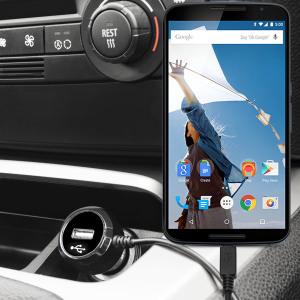 Altijd een opgeladen  Google Nexus 6 met deze High Power 2.4A Auto Oplader. De oplader heeft een spiraal vormig snoer en een extra USB poort om een tweede toestel op te laden.