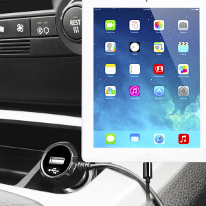 Keep your Apple iPad Air 2 fully charged on the road with this high power 2.4A Car Charger, featuring extendable spiral cord design. As an added bonus, you can charge an additional USB device from the built-in USB port!