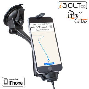 "Hold and charge your iPhone X, 8, 8 Plus, 7, 7 Plus, 6S, 6S Plus, 6, 6 Plus, 5S, 5C, 5 safely with this ""Made for iPhone""   case compatible iPro2 Vehicle Dock by iBolt."