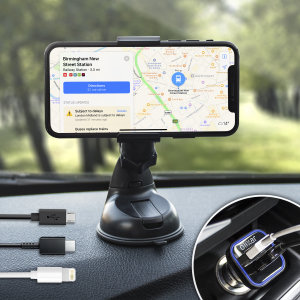 The perfect in-car accessory pack for your Android or iOS device. With a case compatible car holder mount, 3.1 Amp USB car charger and 1m Micro USB, Lightning and USB-C cables, you'll have everything your car needs to hold and charge your phone.