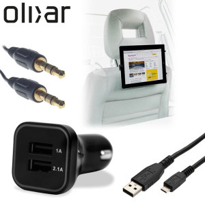 Meet the ultimate tablet car pack. Providing everything you'll need for your tablet on a long car journey, the Olixar Ultimate Car Pack keeps your Micro USB device charged, mounted securely for easy viewing and ready to listen to through your car's stereo