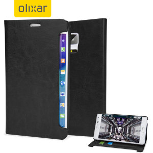 The Olixar Samsung Galaxy Note Edge Wallet Case in black sticks to the back of your Edge to provide enclosed protection and can also be used to hold your credit cards.