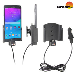 Charge and use your Samsung Galaxy Note 4 in your vehicle with this Brodit active holder with tilt swivel.