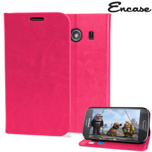 Protect your Samsung Galaxy Ace 4 with this durable and stylish hot pink slim leather-style wallet case that can hold multiple credit and debit cards. What's more, this case transforms into a handy stand, perfect for viewing media.