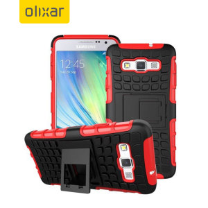 Protect your Samsung Galaxy A3 2015 from bumps and scrapes with this red Olixar ArmourDillo case. Comprised of an inner TPU case and an outer impact-resistant exoskeleton, the ArmourDillo provides robust protection and supreme styling.