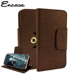 Wrap your 4 inch screen phone in luxurious, sophisticated protection with the brown Encase Leather-Style Stand Case. This universal case has credit card slots and can transform into a convenient viewing stand which rotates between portrait and landscape.