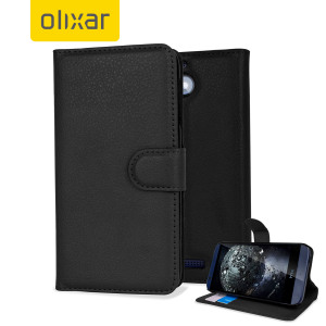 Protect your HTC Desire 510 with this leather-style wallet case in black. The case includes a viewing stand - perfect for watching movies with friends and family, and also card slots and a document pocket for wallet functionality.