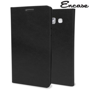 Protect your Samsung Galaxy A7 2015 in elegant luxury with a leather-effect wallet case in black. The case also includes a viewing stand, perfect for watching movies with friends and family.