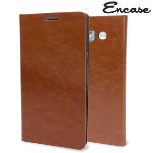 Protect your Samsung Galaxy A7 2015 in elegant luxury with a leather-effect wallet case in brown. The case also includes a viewing stand, perfect for watching movies with friends and family.