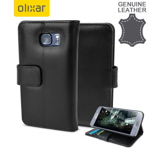 A sophisticated lightweight black genuine leather case with a magnetic fastener. The Olixar Premium genuine leather wallet case offers perfect protection for your Samsung Galaxy S6, as well as featuring slots for your cards, cash and documents.