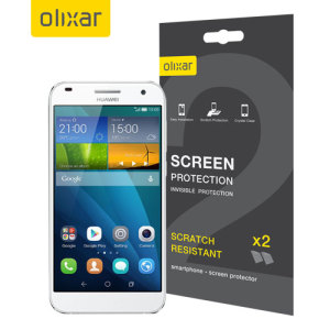 Keep your Huawei Ascend G7's screen in pristine condition with this Olixar scratch-resistant screen protector 2-in-1 pack.