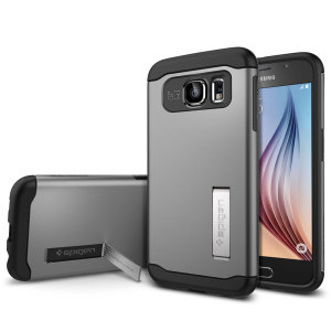 The Slim Armour case in gunmetal for the Samsung Galaxy S6 has shock absorbing technology specifically incorporated to protect the device from any angle.