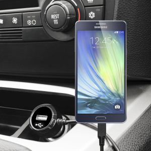 Keep your Samsung Galaxy A3 2015 fully charged on the road with this high power 2.4A Car Charger, featuring extendable spiral cord design. As an added bonus, you can charge an additional USB device from the built-in USB port!