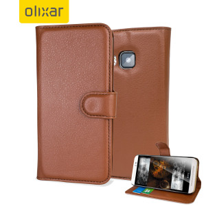 Protect your HTC One M9 in elegant luxury with a leather-effect wallet case in brown. The case also includes a viewing stand, perfect for watching movies with friends and family.