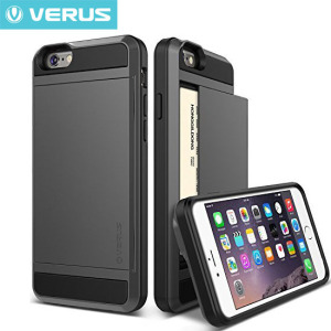 Protect your iPhone 6S / 6 with this precisely designed case in dark silver from Verus. Made with tough yet slim material, this hardshell construction with soft core features patented sliding technology to store two credit cards or ID.
