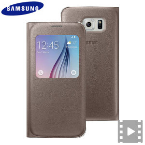 Ideal for checking the time or screening and answering incoming calls without opening the case. This gold official Samsung S View Cover for the Samsung Galaxy S6 is slim and stylish.
