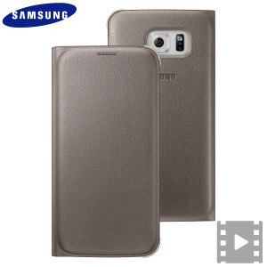 Official Samsung Galaxy S6 Flip Wallet Cover - Gold