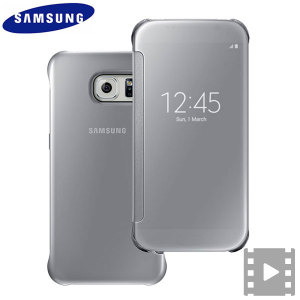 Funda Oficial Samsung Galaxy S6 Clear View Cover- Plata
