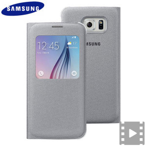 Official Samsung Galaxy S6 S View Fabric Premium Cover Case - Silver