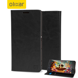 A sophisticated lightweight black leather-style case with a magnetic fastener for ease of use. The Olixar leather-style wallet case offers perfect protection for your Sony Xperia Z3+ and also includes a built-in stand.