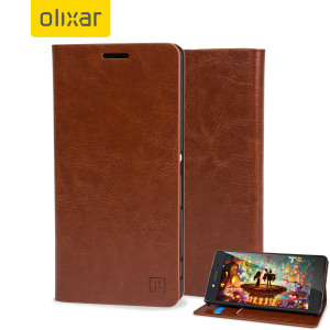 A sophisticated lightweight light brown leather-style case with a magnetic fastener for ease of use. The Olixar leather-style wallet case offers perfect protection for your Sony Xperia Z3+ and also includes a built-in stand.