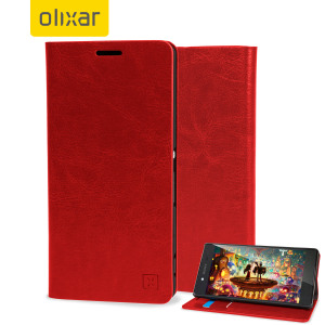 A sophisticated lightweight red leather-style case with a magnetic fastener for ease of use. The Olixar leather-style wallet case offers perfect protection for your Sony Xperia Z3+ and also includes a built-in stand.