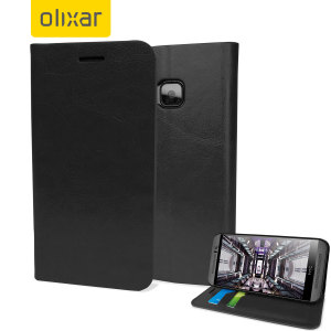 Protect your HTC One M9 in elegant luxury with a leather-style wallet case in black. This Olixar case also includes a viewing stand, perfect for web browsing and watching media with friends and family.