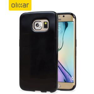 A capa FlexiShield para Samsung Galaxy S6 Edge, em cor preto, é fina e protege dos danos.