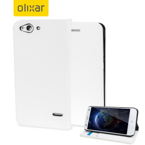Protect your ZTE Blade S6 in elegant luxury with a leather-style wallet case in white. This Olixar case also includes a viewing stand, perfect for web browsing and watching media with friends and family.
