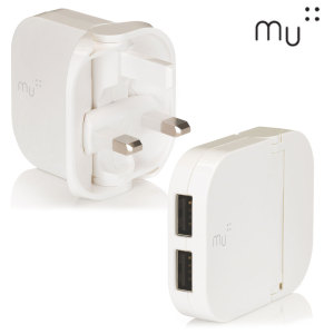 MU Duo is an update on the award winning folding plug design. A 2.4A folding USB mains charging adapter with 2 USB ports, which reduces to 70% its  size for pocket-sized portability. In white.