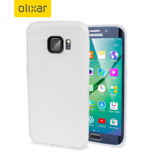 Custom moulded for the Samsung Galaxy S6 Edge, this white FlexiShield Dot case by Olixar provides a perfect fit and durable protection against damage.
